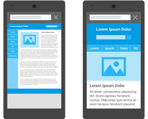 Exemplos de um site não-mobile (à esq.) e um mobile